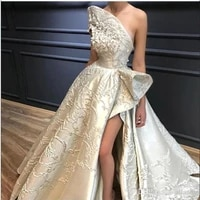 luxury lace appliqued wedding dress princess sexy high side slit strapless a line wedding gown backless floor length bride dress