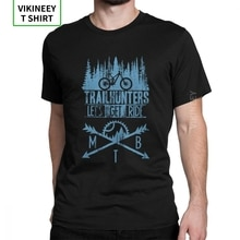 Trailhunters MTB T-Shirts Mountainbike Fahrrad Vintage T Shirt Mann Kurzen Ärmeln Kleidung Grau Tee Shirt Baumwolle Stoff