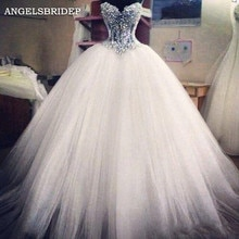 Angelsbride-robe De mariée, robe De mariée, chérie, longueur au sol, avec des perles De Bling, robes De mariée formelles bohémiennes