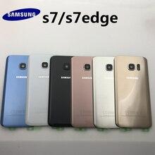 Cristal Original para SAMSUNG Galaxy S7 G930 S7 edge G935, cubierta trasera de batería, carcasa trasera de repuesto + adhesivo