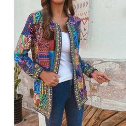 Outono feminino chaqueta estilo étnico vintage floral impressão manga longa plus size casaco de algodão 2020 popular femme veste f
