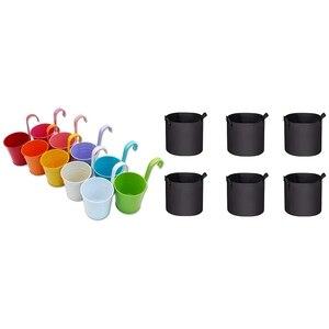 10Pc Metal Flower Pot Flower Bucket Garden Flower Pot with 6Pc 5 Gallon Planting Bucket Planting Bag