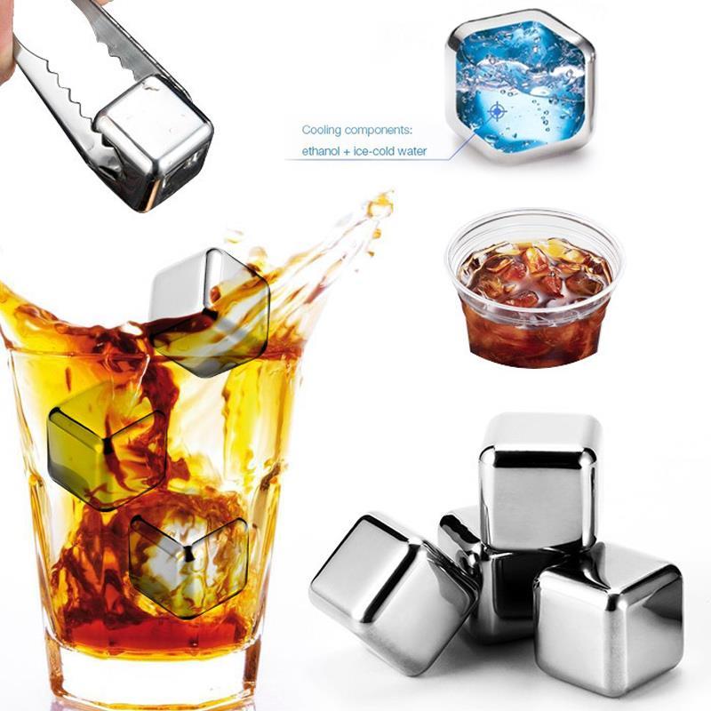 1x1x1 pulgadas de acero inoxidable cubitos de hielo para whisky cubos de hielo reutilizables enfriadores de salud glaciar beber