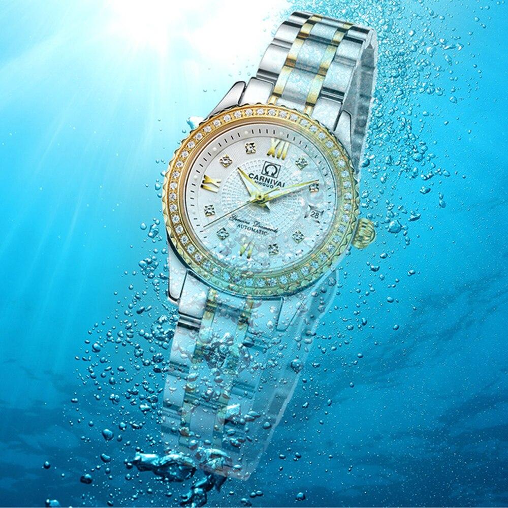 CARNIVAL Brand Ladies Fashion Automatic Watches Women Waterproof Luxury Sapphire Calendar Mechanical Wristwatch Relogio Feminino enlarge