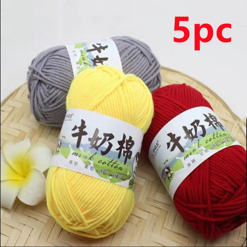 5pc Hot Sale Multi Color Cotton Silk Knitting Yarn Soft Warm Baby Yarn for Hand Knitting thread Supp