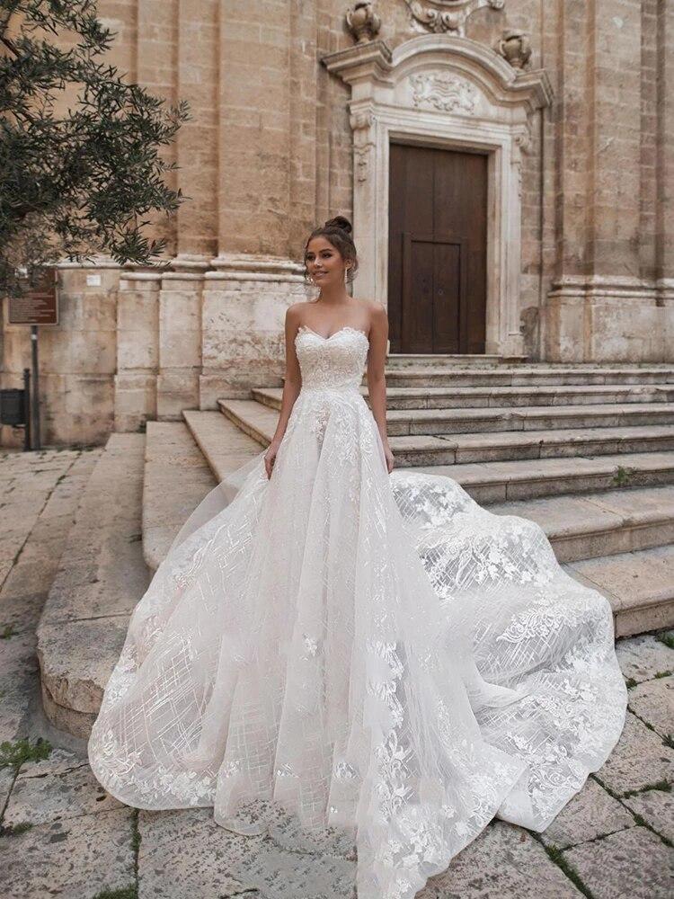 Promo Wedding dress Lace wedding dress Sleeveless Tube top atmosphere Simple Retro Bridal dresses Backless Beautiful plus size