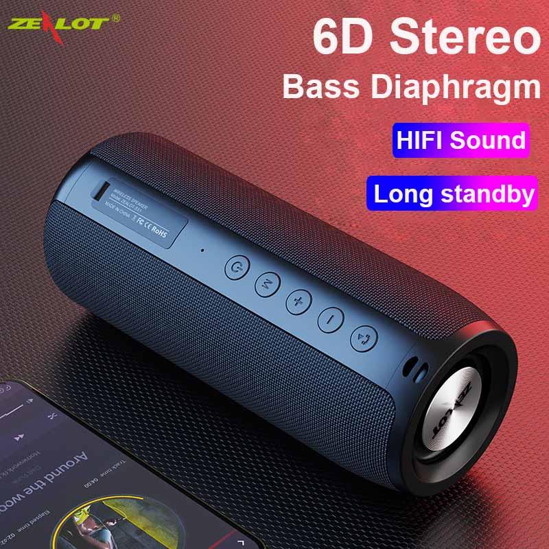 ZEALOT S51 لسماعات الكمبيوتر اللاسلكية بلوتوث عمود كبير مركز الموسيقى مضخم الصوت المحمولة في الهواء الطلق قوية مكبرات الصوت بصوت عال