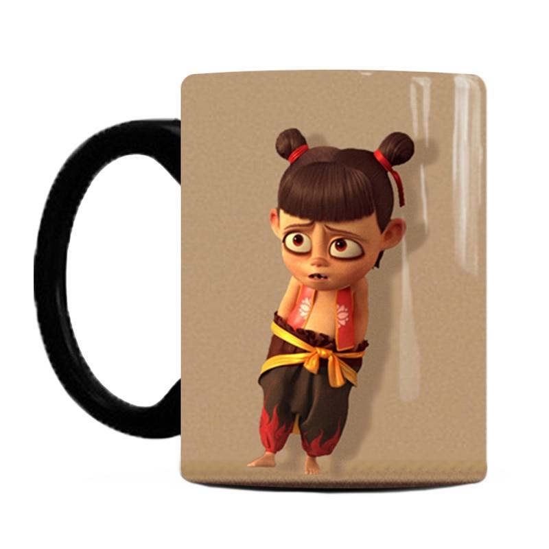 1 Uds. Taza mágica termocrómica creativa de Anime Ne Zha de 350ml, taza que cambia de Color, Taza de cerámica para café y leche para niños