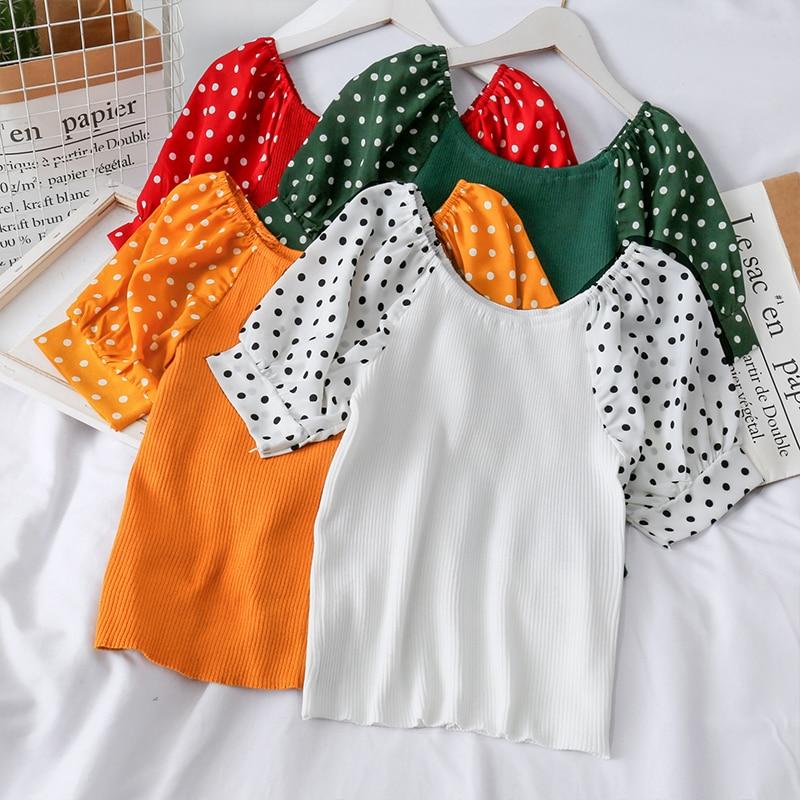 Las mujeres cuello barra corta de punto manga Delgado camisetas niñas tejer grandes Patchwork elástico camisetas Tops