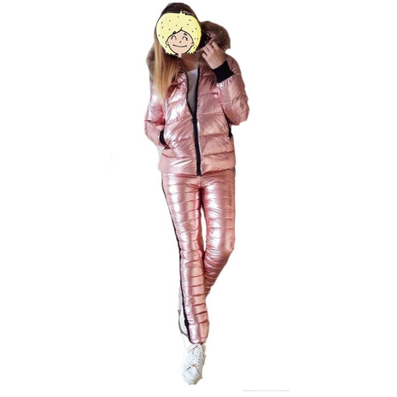 Chaqueta de esquí en nieve 2019 + Pantalones Cuero brillante traje de esquí para mujer chaqueta con capucha de piel gruesa para invierno