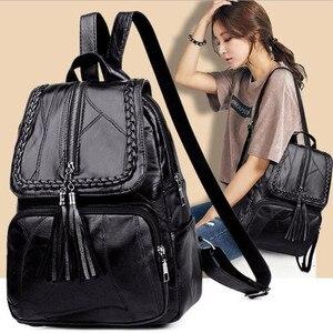 2021 Women's PU Leather Backpack School Bag Classic Black Waterproof Travel Multi-Function Shoulder Bag