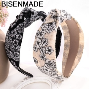 BISENMADE Fashion New Headband Women Embroidery Floral Fabric Hairband Girls Headwear Hair Accessories Middle Knot Headdress