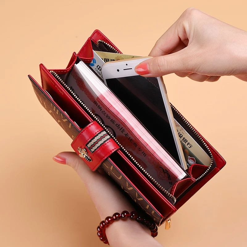 Leather Women Wallet Long Anti-theft Brush Zipper Button Coin Purse Multi Card Seat Large Capacity