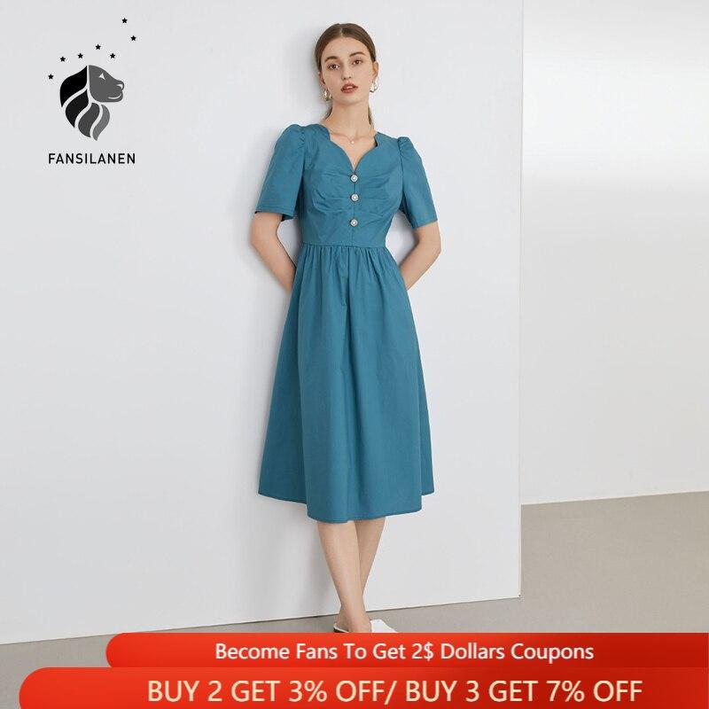 FANSILANEN 100% القطن مكتب سيدة الأزرق نفخة الأكمام فستان الإناث الصيف 2021 جديد الفرنسية عالية الخصر الرجعية البريدي فستان للنساء