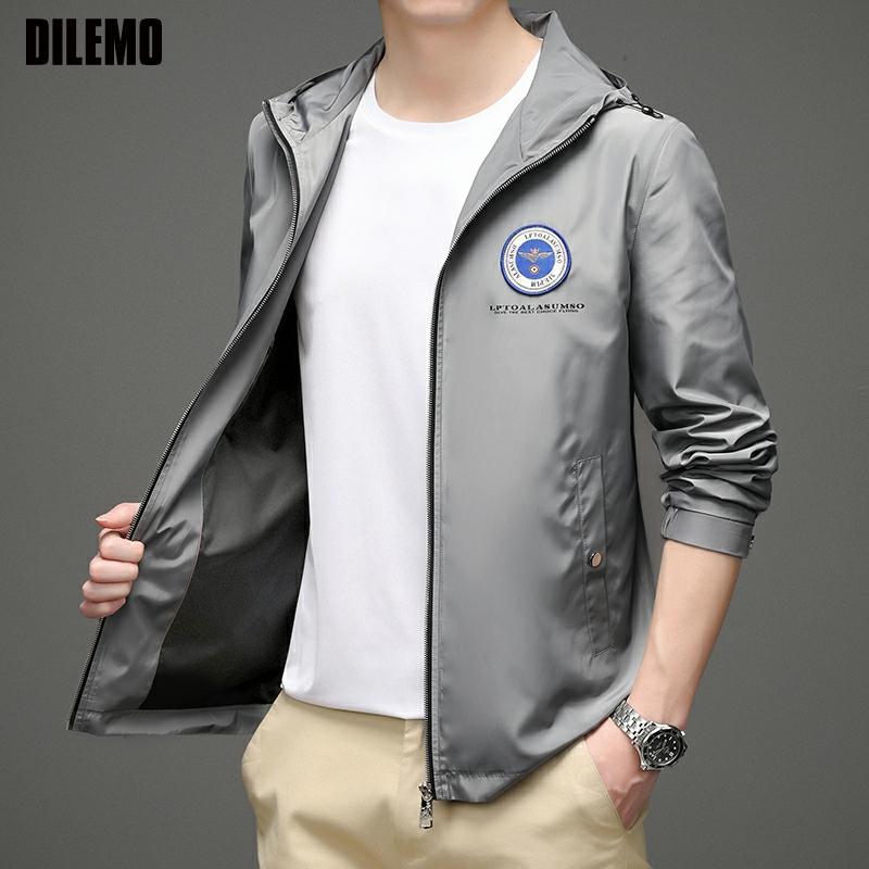 Ветровка мужская с капюшоном, брендовая Повседневная Уличная одежда, трендовая куртка-бомбер, модная ветровка, верхняя одежда на осень
