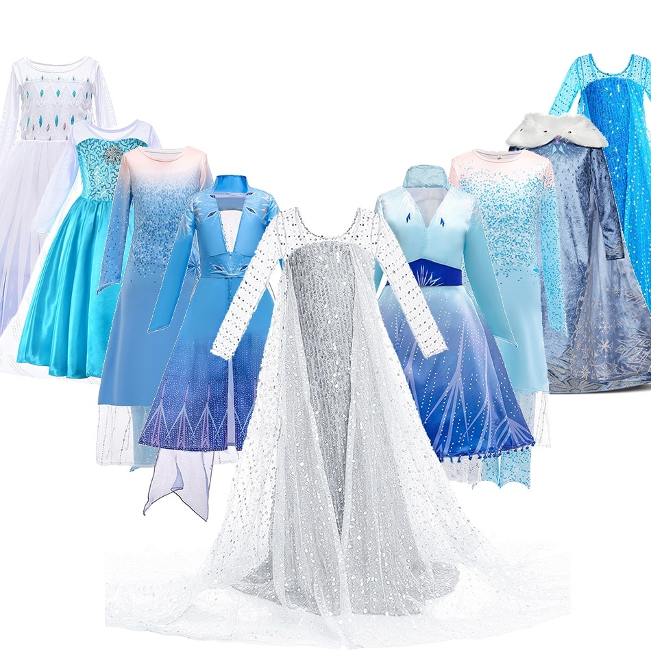 3 5 6 8 10 Years Girls Snow Queen 2 Elsa Dress Kids Carnival White Princess Costume Children Birthda