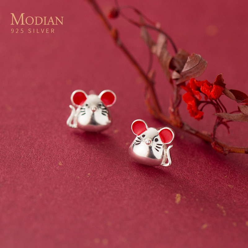 Pendientes de moda Modian con forma de Animal para mujer, Plata de Ley 925 pura, pendientes bonitos con diseño de pequeño ratón, joyería fina de estilo nacional