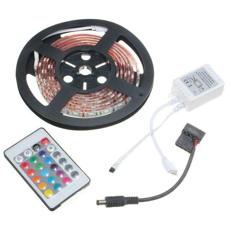 Tira de luces LED de 0,5 M, 1M, 1,5 M, 2M, RGB 5050 SMD, 16 colores, ordenador, PC, chasis, luces de 12V con 24 llaves, mando a distancia, triangulación de envío