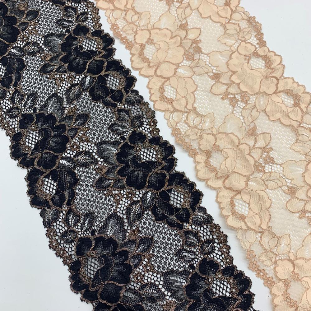 3y/lote ancho 17,50 cm encaje elástico Floral adornos negro albaricoque con falda dorada Hem vestido costura aplique para disfraz telas de encaje