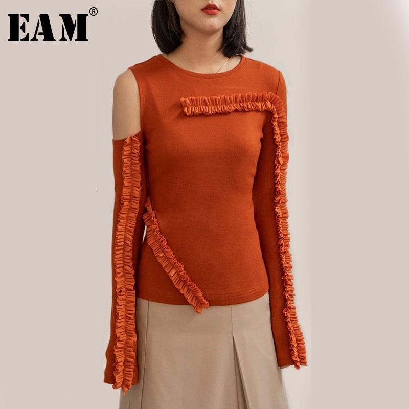 [EAM] Ruffless Off Shoulder Knitting Sweater Loose Fit cuello redondo manga larga mujeres nueva moda marea primavera otoño 2020 1D324