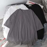 basic t shirt women summer new oversized solid tees 7 color casual loose tshirt korean o neck female tops