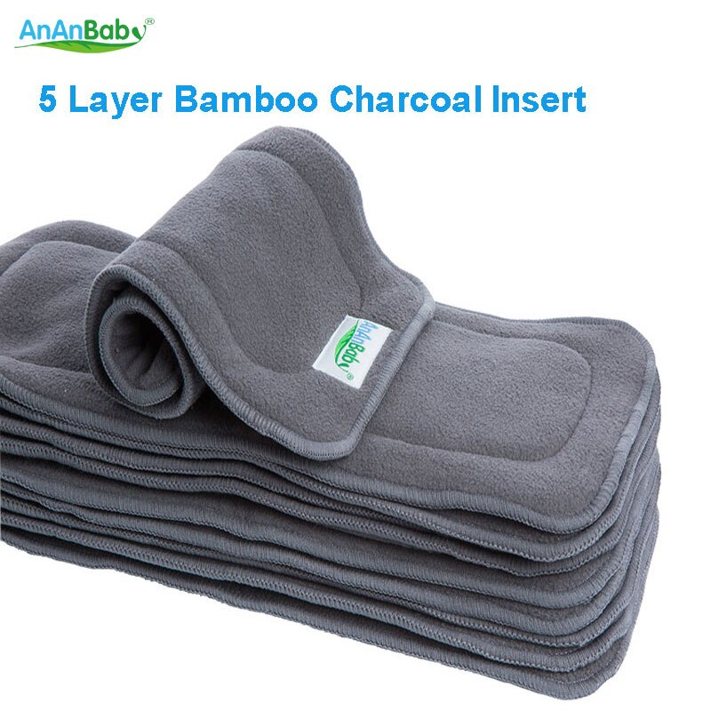 20pcs Hot Sell Baby Diaper Insert New Reusable 5 Layer Bamboo Charcoal Inserts Bamboo Insert