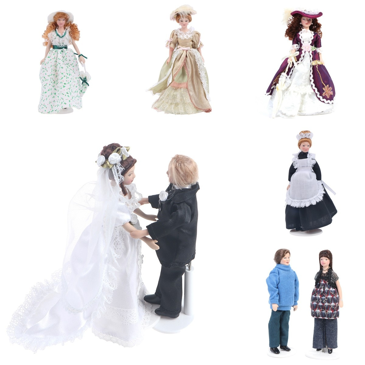 1:12 Miniature Multi-theme Mini Victorian Doll Model Green Lady/ Housemaid / the Bride And The Bridegroom Dollhouse Decoration cute resin bride and bridegroom toy doll