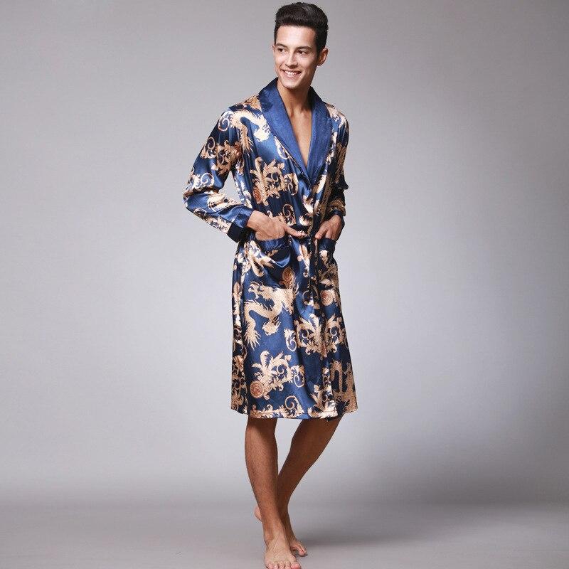 Лед шелк ночная рубашка пижамы для мужчин удобные с длинными рукавами одежда для сна домашняя одежда кайоулай 2021