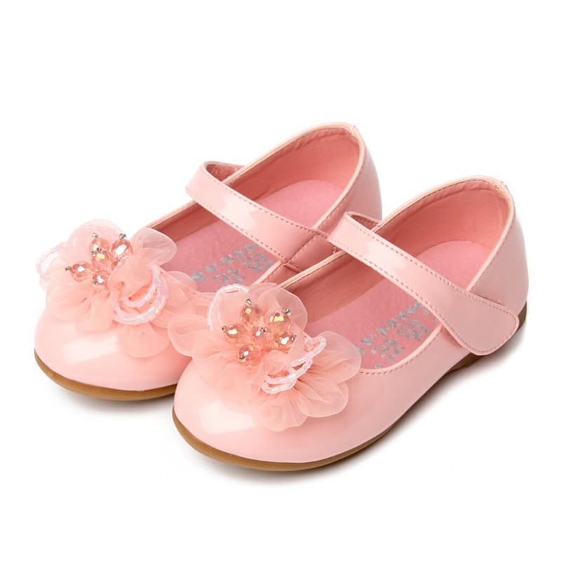 Baby Girls Leather Shoes Kids Black White Pink Flower Princess Shoes For Wedding Cocktail Party Baby