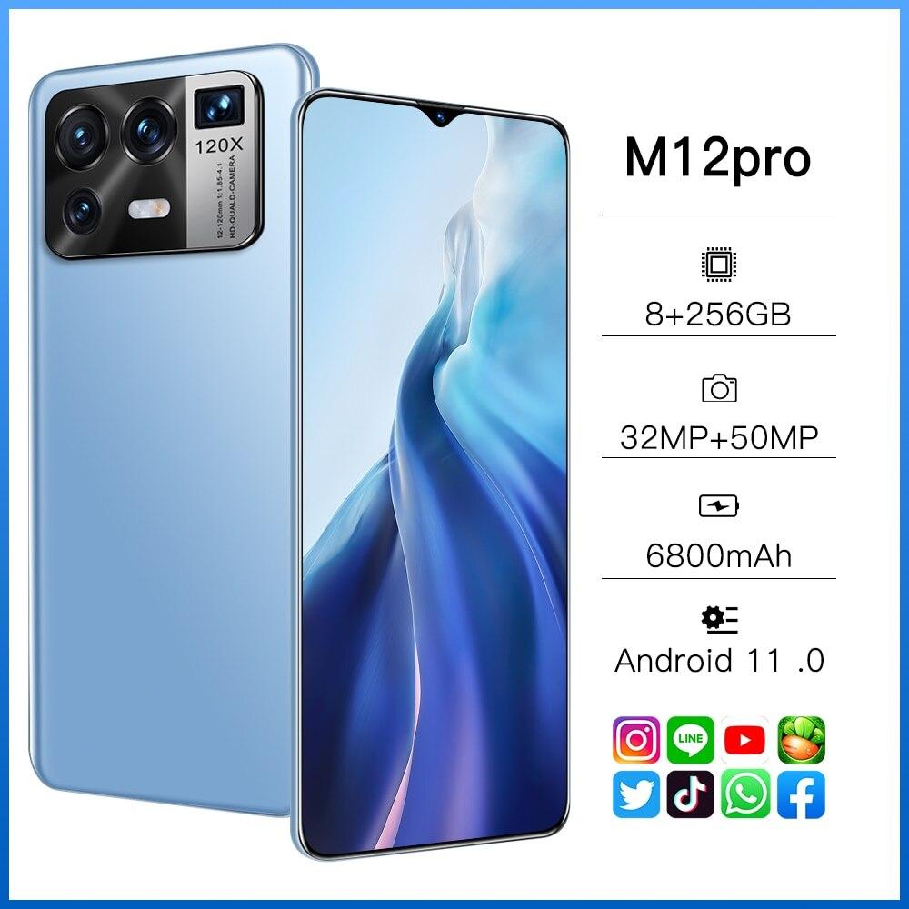 M12 Pro Andriod 11 128/256gb 6.7 بوصة 32 + 50 ميجابكسل 6800mah المزدوج سيم الهواتف الذكية + مايكرو Sd بصمة فتح الهاتف المحمول