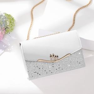 Women Delicate Sequined Chain Crossbody Bag INS Fashion Owl Decoration Shoulder Luxury Designer Flap Handbag And Purse 2021