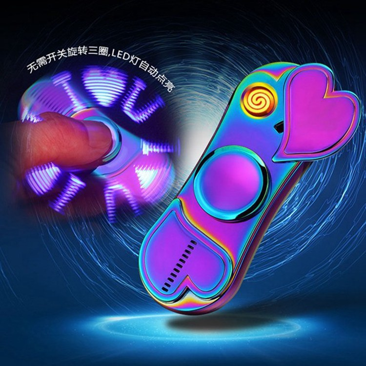 Colorful Luminous Metal Fidget Spiner Hand Spinner Top Spinners Stress USB Charging Lighters Fingertip Gyro Adult Toys Gift E enlarge