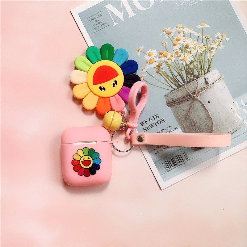 For Apple Airpods 1/2 Fashionista Murakami Takashi Kaikai Kiki Sun Rainbow Flower Pendant Strap Silicone Earphone Cover Cases