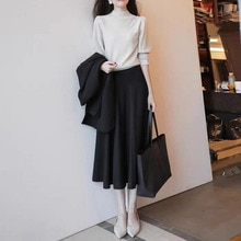 Two Piece Set Women Skirt Casual Daily Outfit Japanes Temperament Knit Sweater And Black Midi Skirt