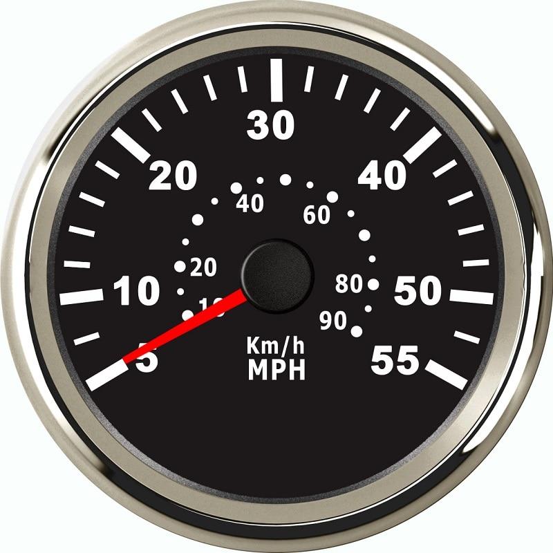 Velocímetro de 85mm indicador de velocidad de barco presión Marina Pitot tubo señales de presión 0-55MPH 0-90 KM/H
