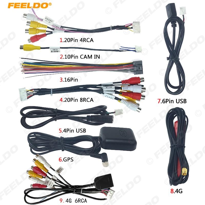 FEELDO автомобильный головный блок стерео жгут проводов комплекты совместимы с XY Авто Android интерфейс решения RCA USB аудио и видео кабель