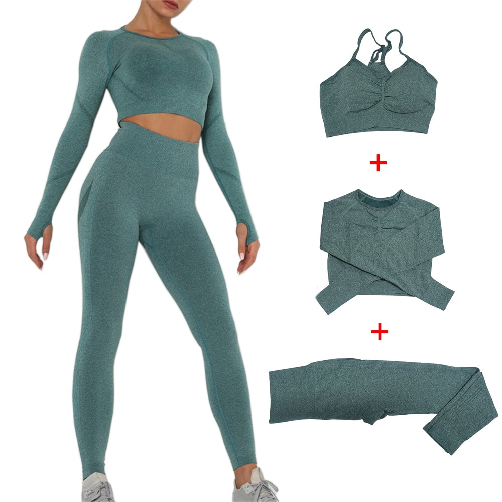 Women Sportswear Yoga Set Seamless Leggings Long Sleeve Crop Top Sports Bra Gym Clothing Fitness Workout  Running Sports Suit