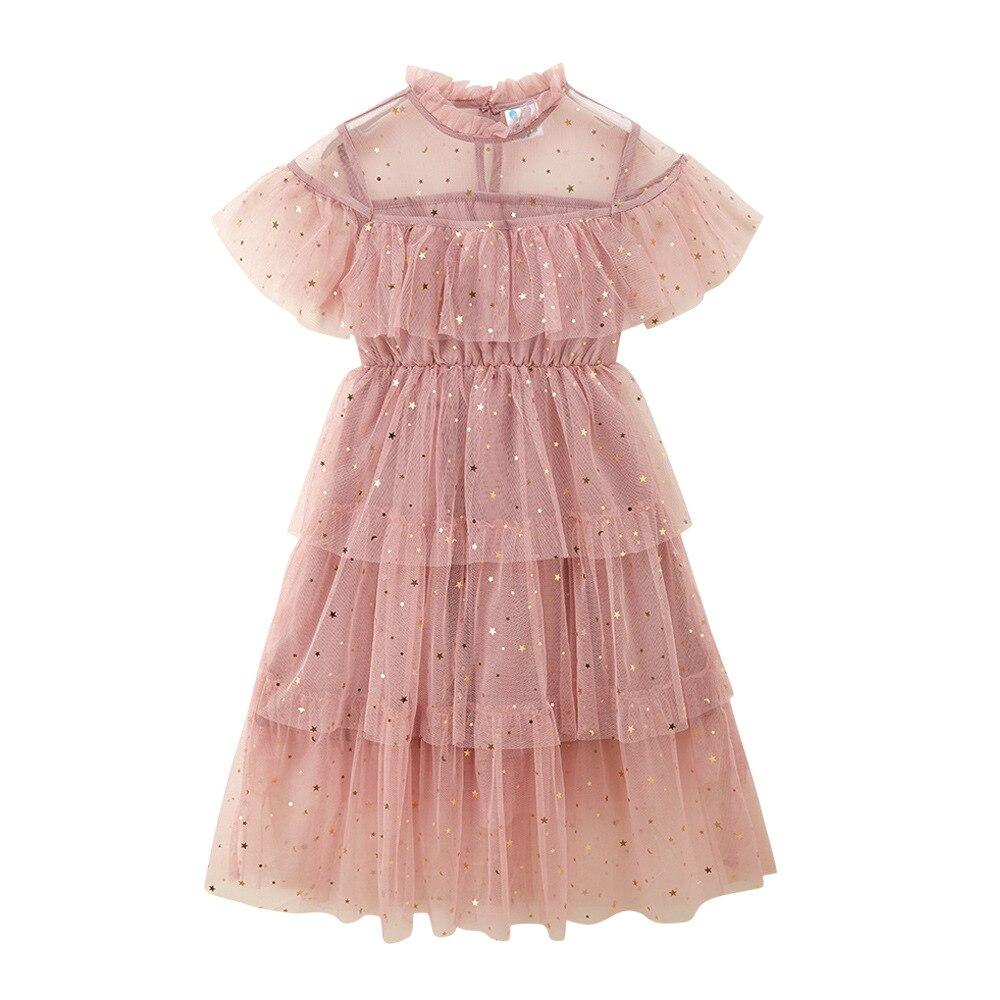 Verão meninas vestido moda estrela lantejoulas malha vestido de manga curta grande meninas vestido de festa dt028