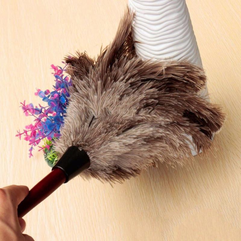 Pena de avestruz Pele Punho De Madeira da Escova Anti-estática Poeira Cleaner para Casa Móveis de Ar-condicionado Do Carro Limpeza TXTB1