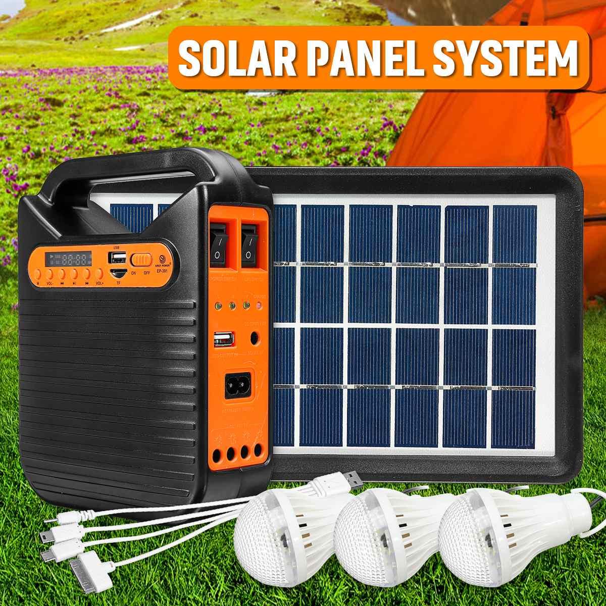 25 واط المنزل بلوتوث شاحن يو اس بي نظام المنزل الشمسية لوحة الطاقة طقم مولد مع راديو FM 3 LED لمبات ضوء الطوارئ الإضاءة