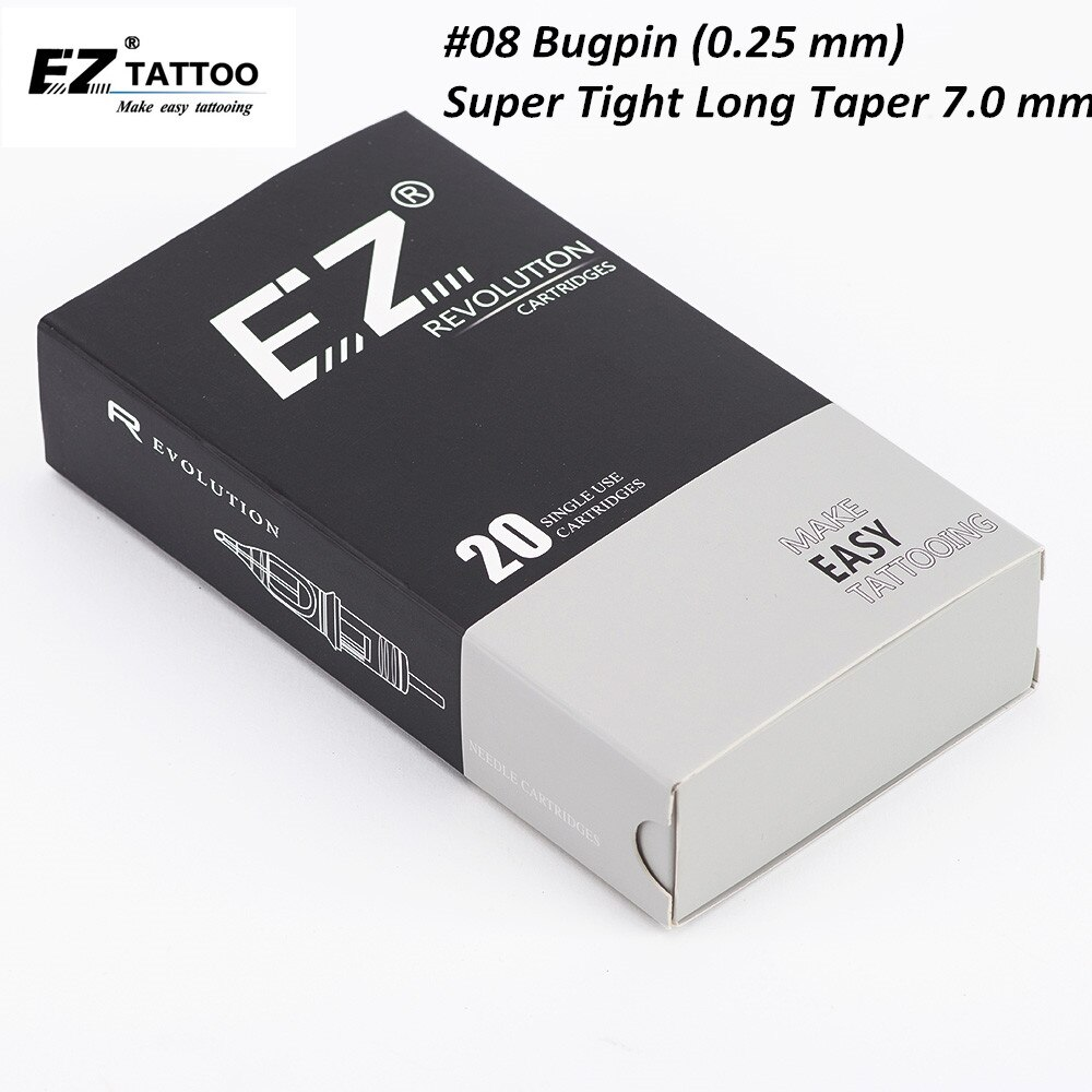 Cartucho de agujas EZ Revolution #08 Bugpin (0,25mm) agujas de tatuaje de revestimiento redondo 7,0mm l-taper súper apretado 20 unids/caja