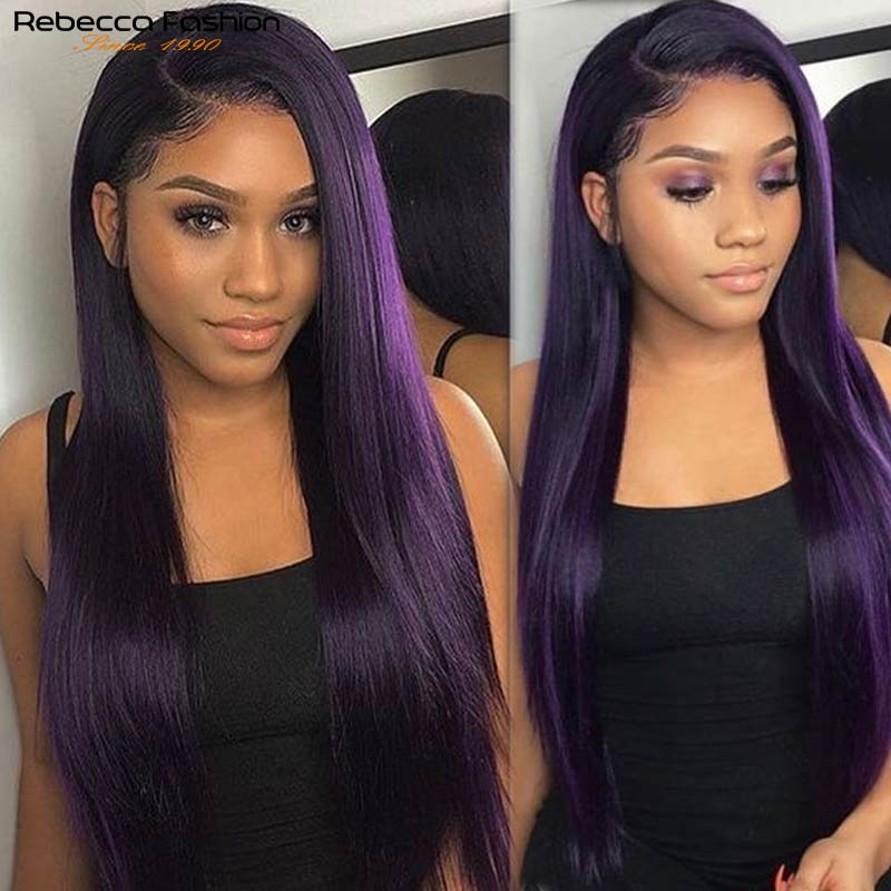 Rebecca Purple Human Hair Wig Straight Lace Front Wig 4x4 Lace Closure Straight Human Hair Wigs For