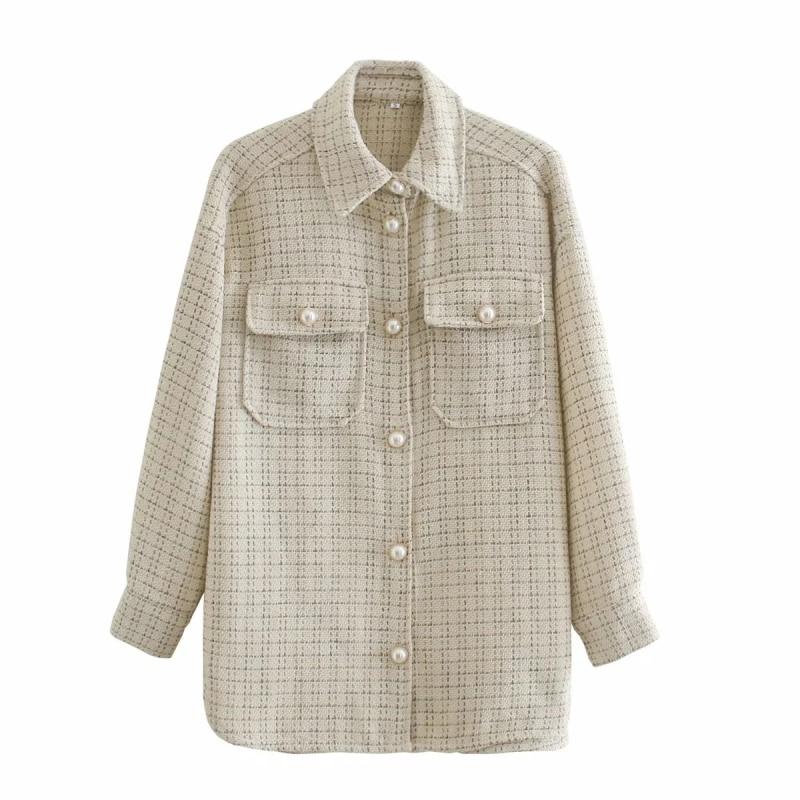 ZXQJ Tweed Women Vintage Oversize Plaid Shirts 2021 Spring-Autumn Chic Ladies Streetwear Loose Shirt Elegant Female Outfit Girls