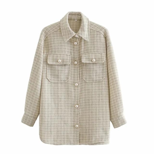 ZXQJ Tweed Women Vintage Oversize Plaid Shirts 2021 Spring-Autumn Chic Ladies Streetwear Loose Shirt Elegant Female Outfit Girls 4