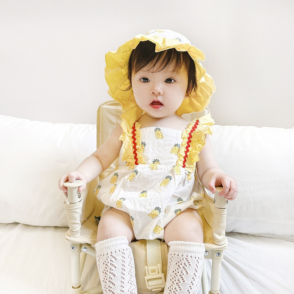 21 summer new baby sister baby girl pineapple lace sleeveless dress triangle climbing hat