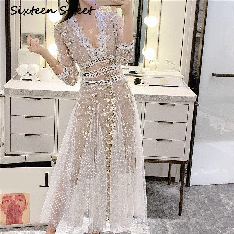 Vestido de mujer blanco 2020 nuevo otoño bordado floral dorado con cuello en V elegante vestido largo de fiesta mujer manga tres cuartos ceñido al cuerpo