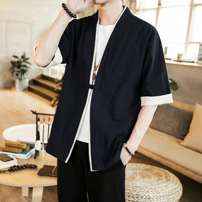 #3955 Summer Black Red Grey Blue Kimono Jacket Men Single Button Thin Vintage Cotton Linen Jacket Short Sleeve Kimono Coat 5XL
