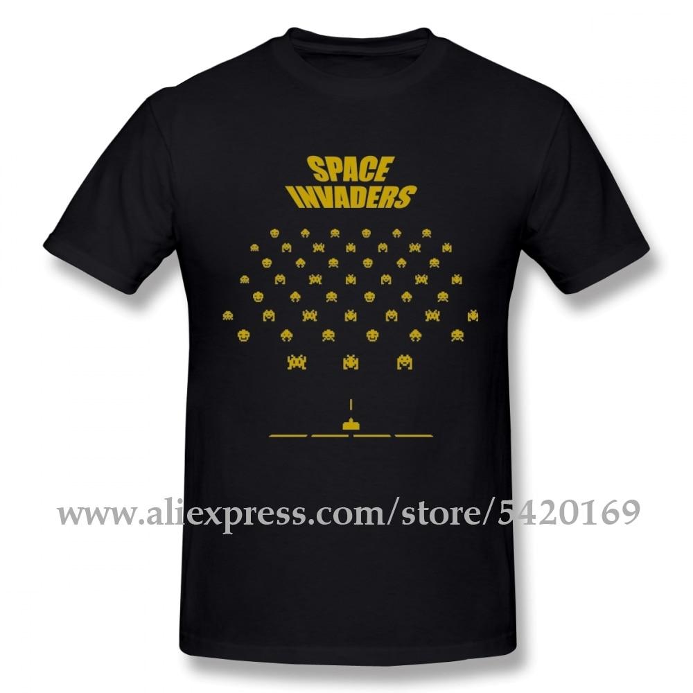 Space Invaders Tee Shirt Men's Quality Rock Roll T Shirt Crewneck Swag Tshirt 100% Cotton Tees Guys Punk Designer Streetwear