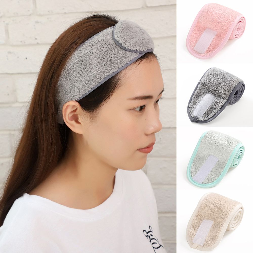Bandas cosméticas para el cabello para ducha de baño para mujer, bandanas ajustables para lavado de rostro, accesorios para salón de SPA y toalla suave