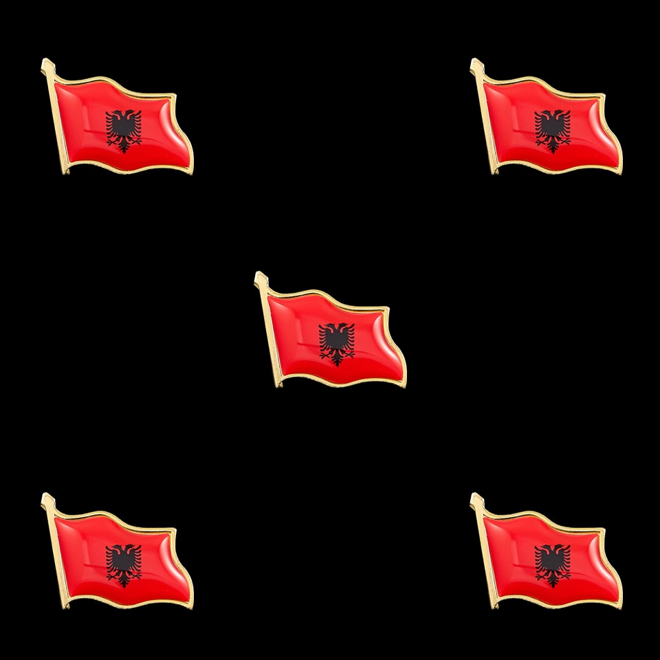 5 pçs albânia país nacional esmalte bandeira pinos de metal broches bandeira pino emblema segurança colar pino